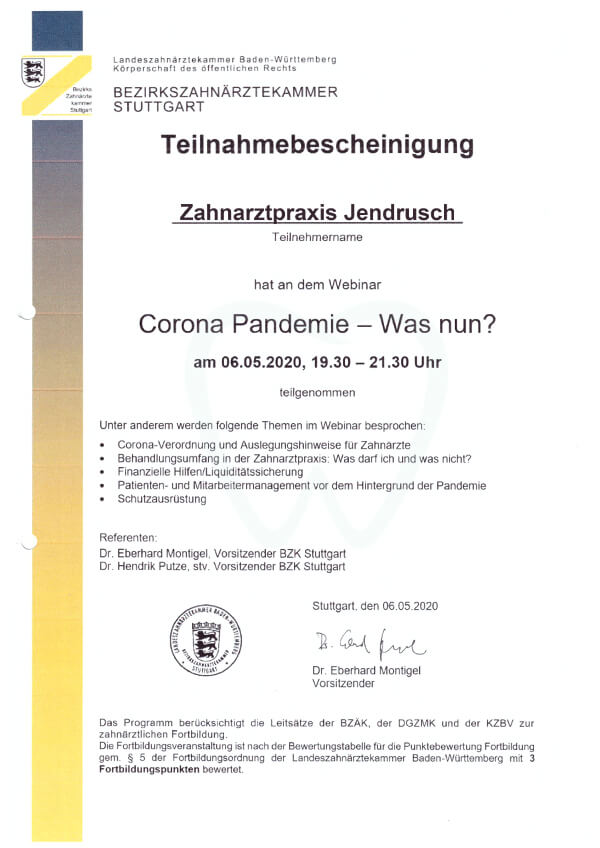 Zahnarztpraxis Jendrusch Corona-Pandemie Hygienemaßnahmen Schutzmaßnahmen